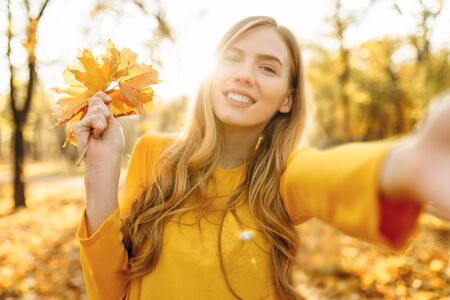 Happy beautiful young bright girl takes selfie with autumn leaves in autumn Park Stockfoto