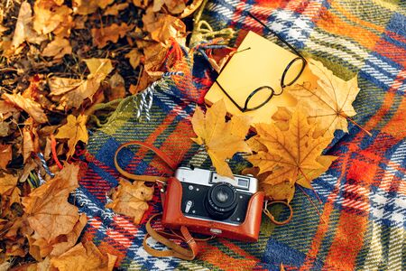 Checkered red and yellow plaid with fringe and autumn leaves, a book, glasses, and a camera. Autumn outdoor recreation concept Stockfoto