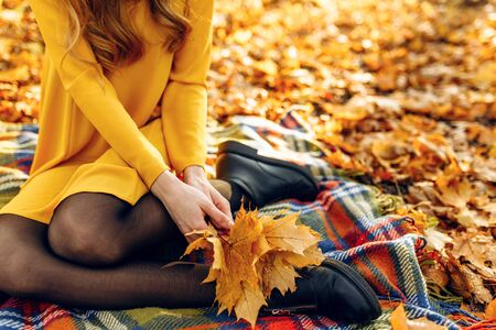 The girl sits in the autumn Park on a blanket, with an autumn bouquet of leaves in her hands. The concept of autumn