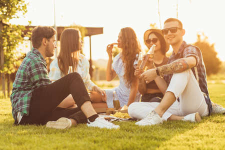 group of young friends, handsome young women and men, students having fun at a party in the park sitting on the grass, drinking beer and eating pizza, and enjoying the hot summer days