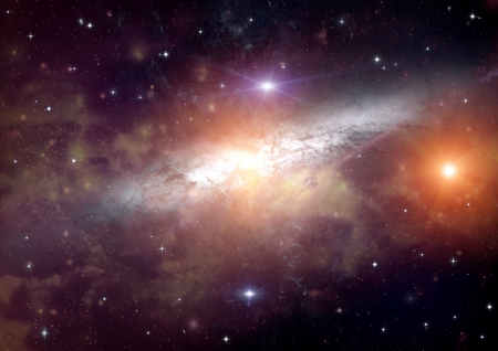 galaxy in a free space 写真素材