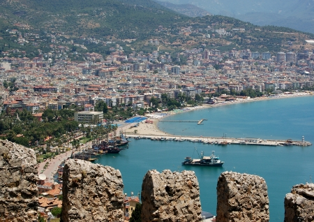 turkiye: looking down from the Alanya Castle to the Mediterranean Sea