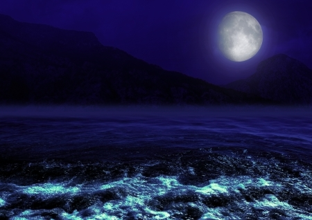 mountains shined with a moonlight
