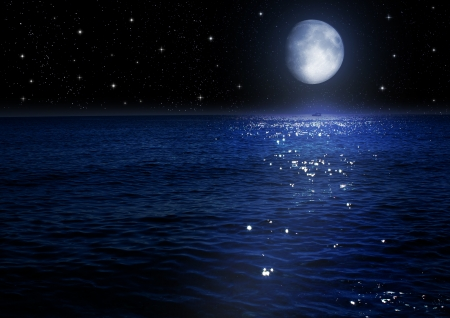 The moon in the night sky   Elements of this image furnished by NASA
