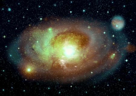 free space: Stars of a planet and galaxy in a free space  Elements of this image furnished by NASA