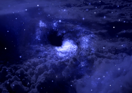 Stars of a planet and galaxy in a free space  Elements of this image furnished by NASA  photo