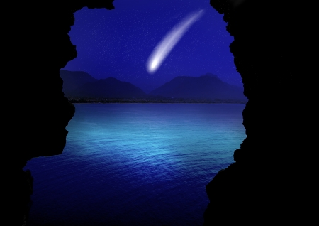 curvature: comet flying through space close to the earth Stock Photo