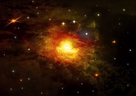 free space: Stars of a planet and galaxy in a free space