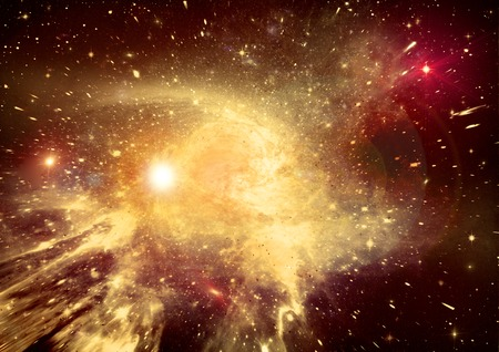 Stars of a planet and galaxy in a free space    Stock Photo