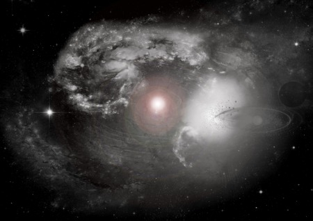 andromeda: Stars of a planet and galaxy in a free space  Elements of this image furnished by NASA