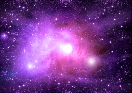 purple: Stars of a planet and galaxy in a free space