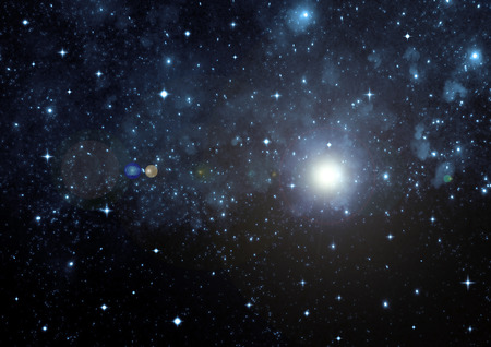 Stars of a planet and galaxy in a free space Stok Fotoğraf - 38440428