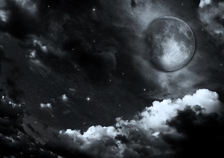 Half moon in the night black sky