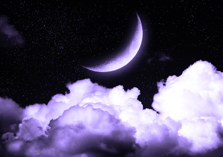half globe: The moon in the night sky in clouds Elements of this image furnished by NASA Stock Photo