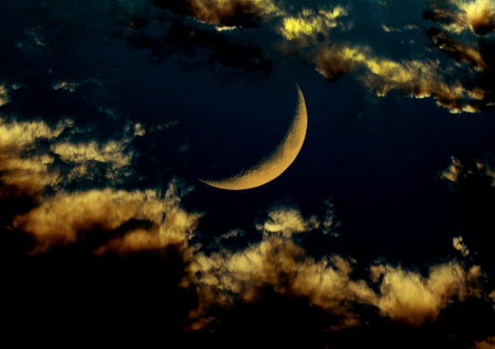 moon surface: moon in the night sky Stock Photo