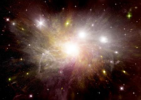 far: Stars, dust and gas nebula in a far galaxy