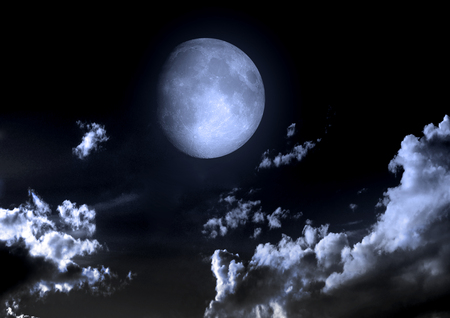 halloween background: The moon in the night sky in clouds Stock Photo