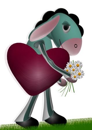 burro: burro in love with heart and flowers Stock Photo