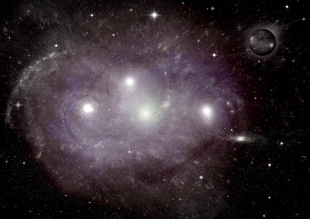 origins: Stars of a planet and galaxy in a free space