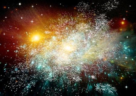 Estrellas de un planeta y la galaxia en un espacio libre de elementos de esta imagen proporcionada por la NASA Foto de archivo