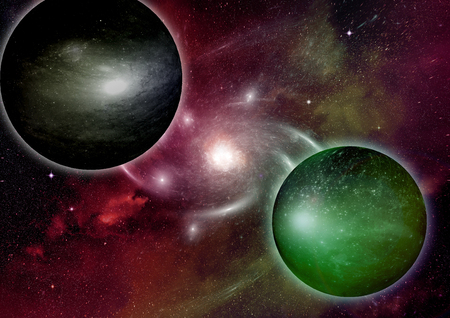 Stars of a planet and galaxy in a free space Elements of this image furnished