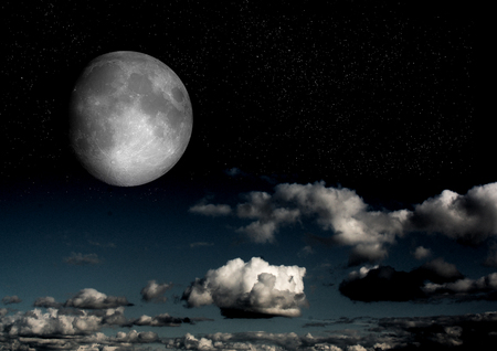 The moon in the night sky in clouds 3D illustration Foto de archivo