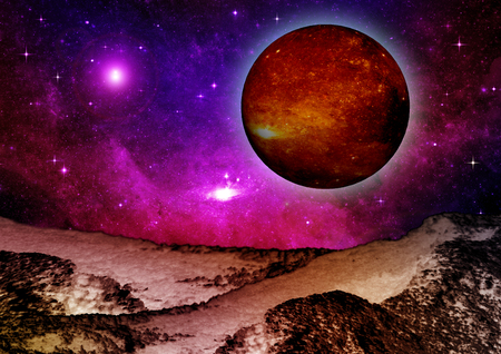 3d Created and Rendered Fantasy Alien Planet Illustration Stock Photo