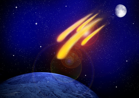 Group of burning exploding asteroids from deep space approaches to planet Earth. Stock Photo