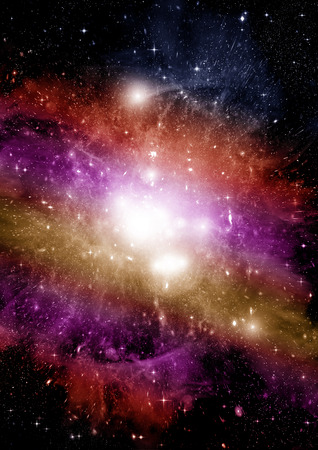 Stelle di un pianeta e galassia in uno spazio libero