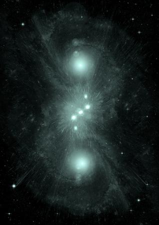 Estrellas de un planeta y galaxia en un espacio libre