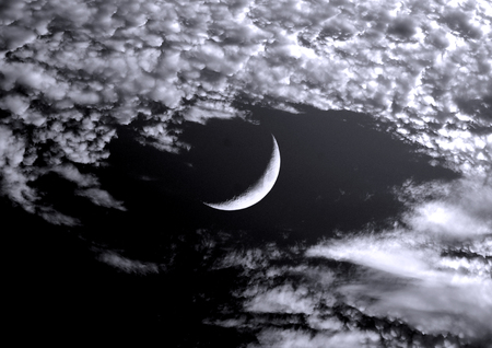 The moon in the night sky in clouds 3D illustration Reklamní fotografie