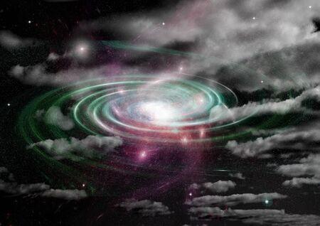 Sterne eines Planeten und einer Galaxie in einem freien Raum Elemente dieses von der NASA bereitgestellten Bildes. 3D-Rendering Standard-Bild