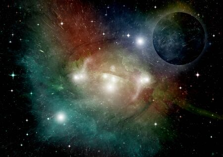 Stars of a planet and galaxy in a free space Elements of this image furnished by NASA. 3D rendering