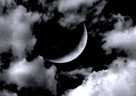 The moon in the night sky in clouds 3D illustration Stok Fotoğraf