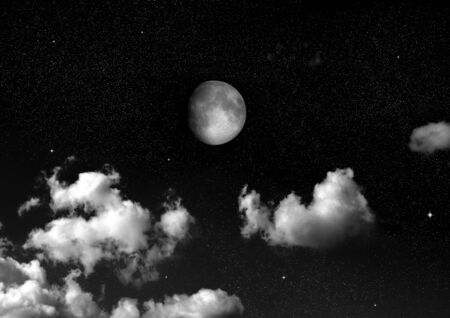 The moon in the night sky Stok Fotoğraf - 133353602