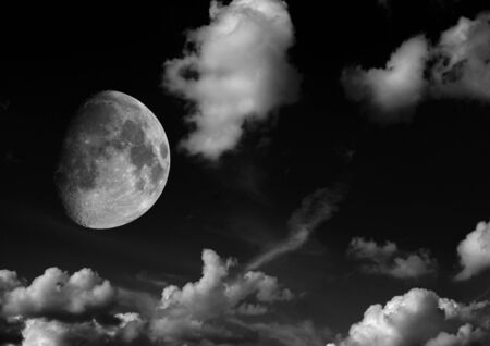 The moon in the night sky in clouds 3D illustration Stok Fotoğraf - 133487556