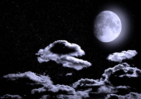 The moon in the night sky in clouds 3D illustration Imagens