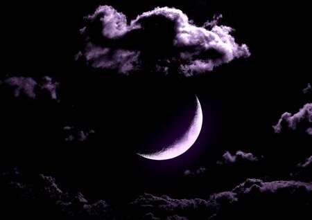 The moon in the night sky in clouds 3D illustration Stock fotó