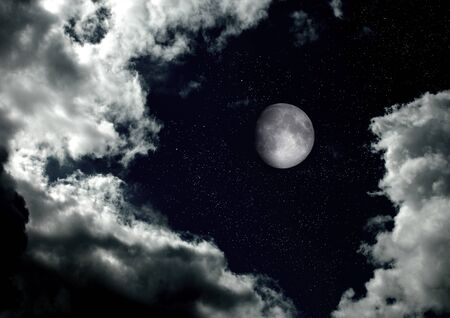The moon in the night sky Stock fotó