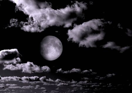 The moon in the night sky in clouds 3D illustration 版權商用圖片