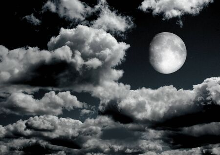 The moon in the night sky in clouds 3D illustration Banco de Imagens