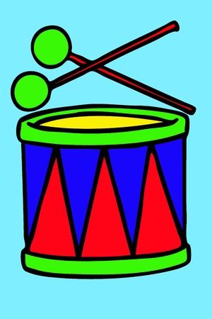 Bright drum with drum-type sticks on a blue background photo