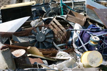 heap of garbage, scrap metal close up photo