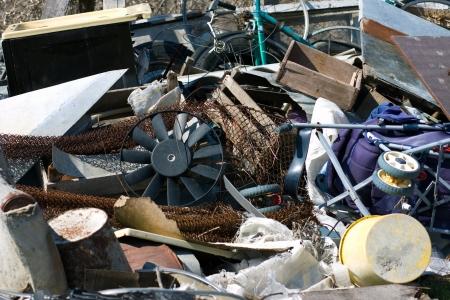 wasteful: heap of garbage, scrap metal close up Stock Photo