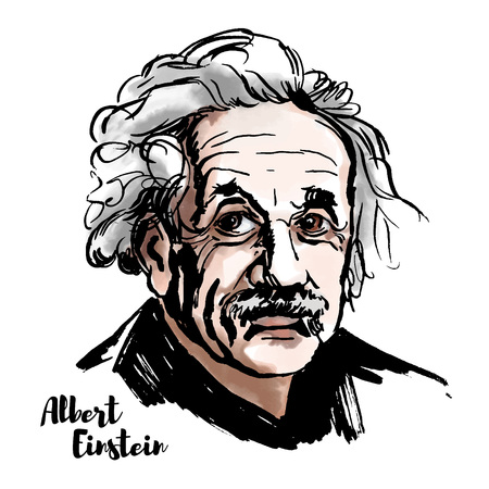 MOSCOW, RUSSIA - MARCH 20, 2018: Albert Einstein watercolor vector portrait with ink contours. The theoretical physicist who developed the theory of relativity, one of the two pillars of modern physics.