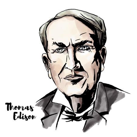 Retrato de vector de acuarela de Thomas Edison con contornos de tinta. Inventor y hombre de negocios estadounidense, que ha sido descrito como el mayor inventor de Estados Unidos. Ilustración de vector