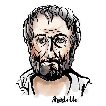Retrato de vector acuarela de Aristóteles con contornos de tinta. Filósofo y científico griego antiguo.