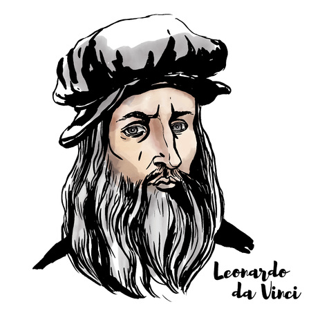 Leonardo da Vinci watercolor vector portrait with ink contours.