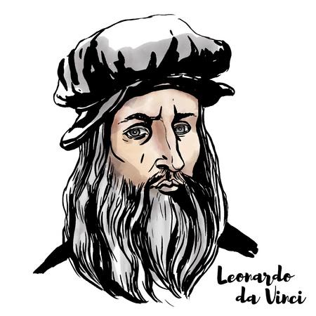 Ritratto di vettore dell'acquerello di Leonardo da Vinci con contorni di inchiostro. Vettoriali