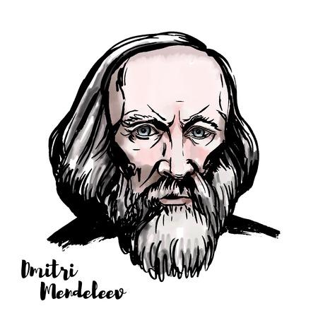 Portrait de vecteur aquarelle Dmitri Mendeleev avec contours d'encre. Chimiste et inventeur russe.